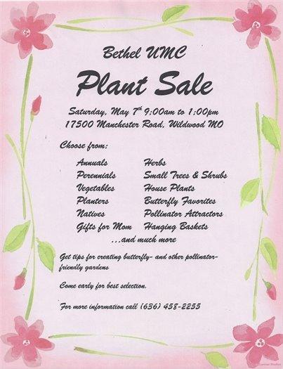 Bethel UMC - Plant Sale - May 7, 2016