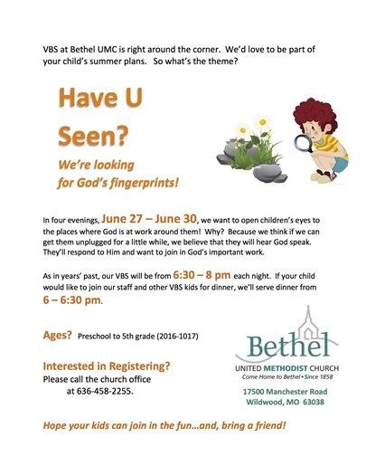Bethel Church Vacation Bible School - June 27, 2016