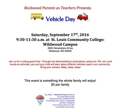 Vehicle Day - Rockwood Parents as Teachers - September 17, 2016