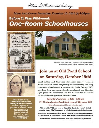Meet and Greet - Saturday, October 15, 2016, on One-Room Schoolhouses