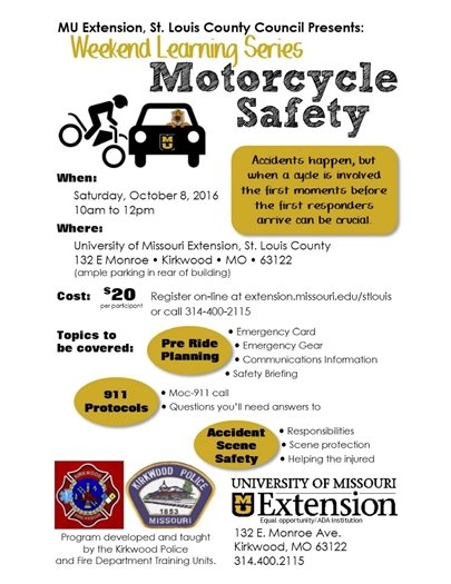 Weekend Learning Series - Motorcycle Safety - October 8, 2016