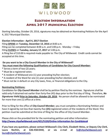 Election Information for Upcoming April 2017 Municipal Offices