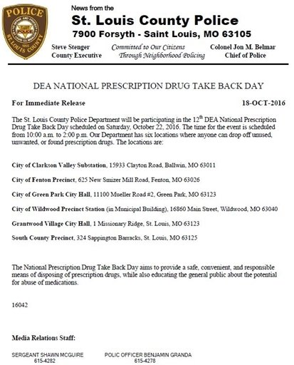 St. Louis County Police - DEA's National Prescription Drug Take Back Day - October 22, 2016
