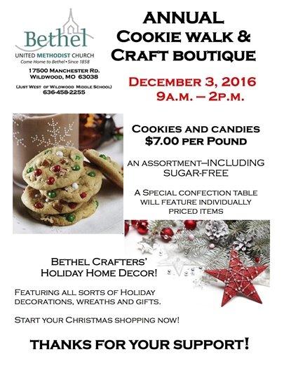 Bethel UM Church - Cookie Walk - December 3, 2016 (9:00 a.m. to 2:00 p.m)