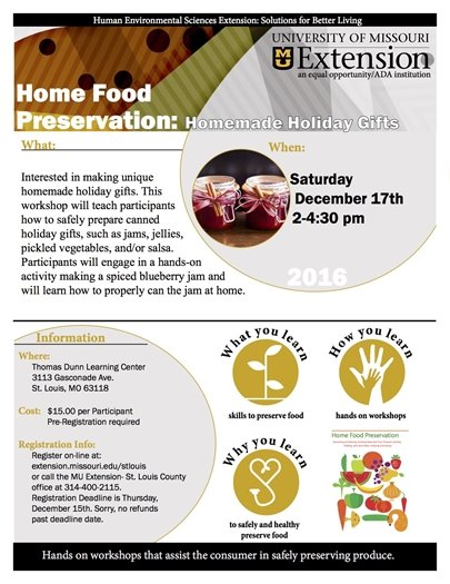 MU Extension - Home Food Preservation - December 17, 2016