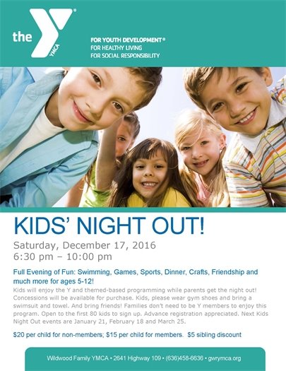 Wildwood Family YMCA - Kids' Night Out - December 17, 2016