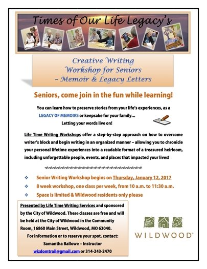Creative Writing Workshop for Seniors - January 12, 2017 - City Hall