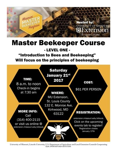 Master Beekeeper Course - MU Extension - January 21, 2017