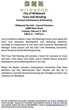 Town Hall Meeting on Economic Development and Marketing - February 7, 2017