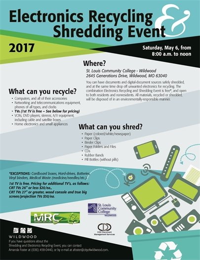 Electronics Recycling and Shredding Event - May 6, 2017 - 8:00 AM to Noon