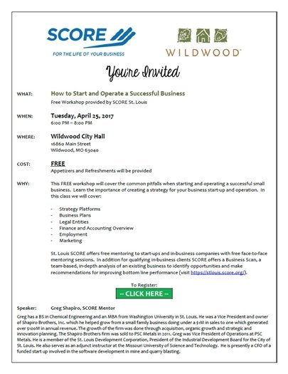 Score and Wildwood - How to Start and Operate a Successful Business