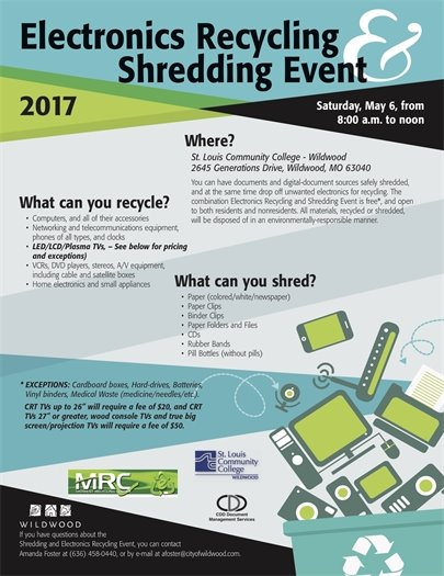 Electronics Recycling and Shredding Event - May 6, 2017