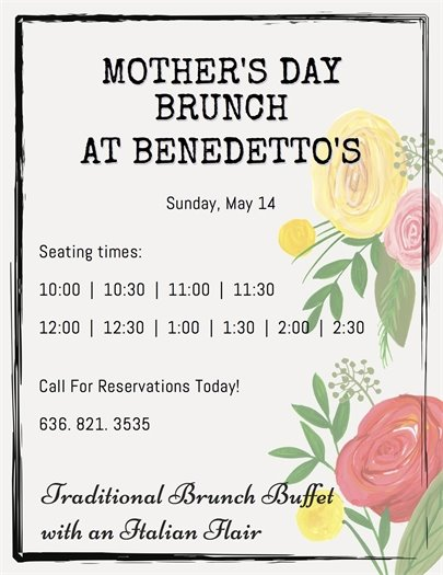 Benedetto's - Mother's Day Brunch - Enjoy