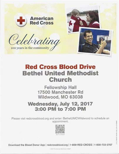 Red Cross Blood Drive - Bethel United Methodist Church - July 12, 2017