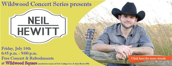 Next Concert at Wildwood Square featuring Neil Hewitt