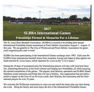 2017 SLBBA International Games return to Pond Athletic Association