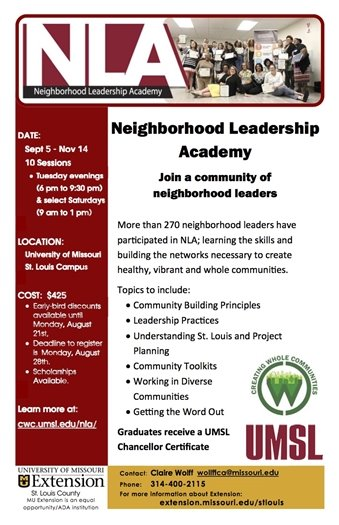 Neighborhood Leadership Academy by UMSL Extension - September 5 through November 14, 2017