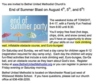 End of Summer Party @ Bethel United Methodist Church