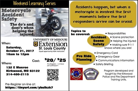 Weekend Learning Series - Motorcycle Accident Safety - MU Extension