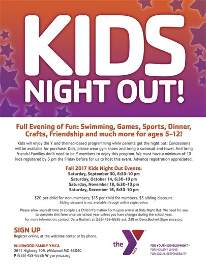 Wildwood Family YMCA's Kids Night Out! Starts on September 30, 2017