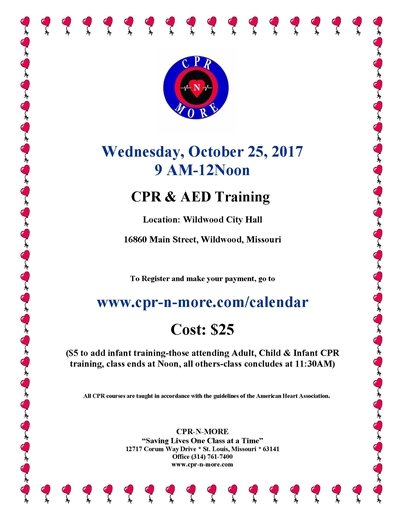 CPR and AED Training - Sponsored by the City of Wildwood - October 25, 2017