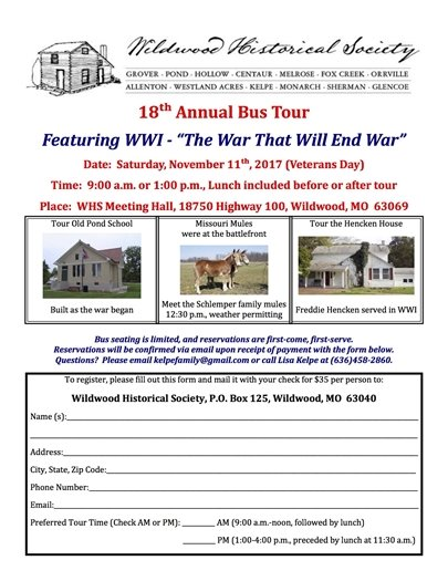 18th Annual Bus Tour by Wildwood Historical Society - November 11, 2017