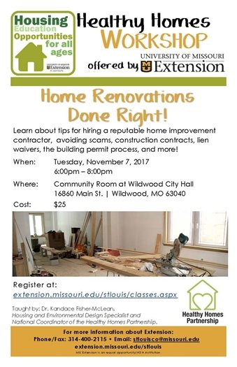 MU Extension Service - Home Renovations Done Right! November 7, 2017 at Wildwood City Hall
