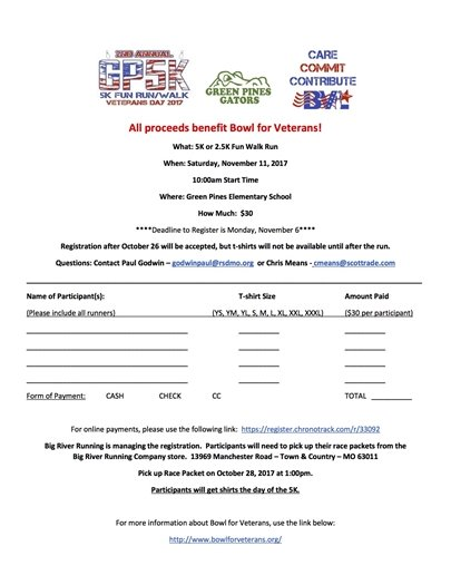 Green Pines Elementary School 5K Run and 2.5K Fun Walk/Run - November 11, 2017