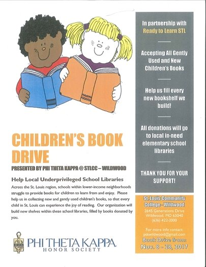 St. Louis Community College - Wildwood Campus - Children's Book Drive - Now through November 28, 2017