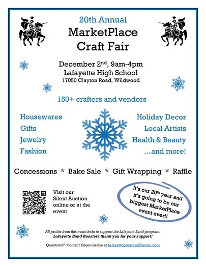 20TH Annual MarketPlace Craft Fair - December 2, 2017 - Lafayette High School