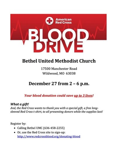 Blood Drive at Bethel United Methodist Church - December 27, 2017