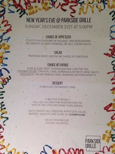 Parkside Grille - New Year's Eve in Wildwood
