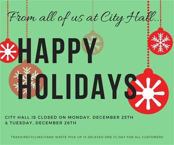 City Hall Closed on Monday and Tuesday, December 25 and 26, 2017
