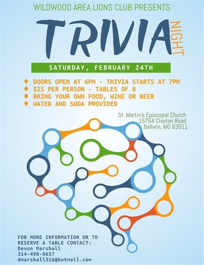 Wildwood Area Lions Club Presents Trivia Night - February 24, 2018