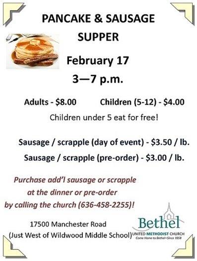 Pancake & Sausage Supper - February 17, 2018 @ Bethel UMC