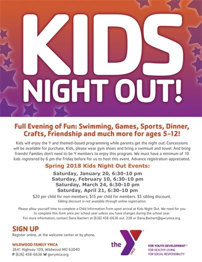 Wildwood Family YMCA - Kids Night Out! See Calendar