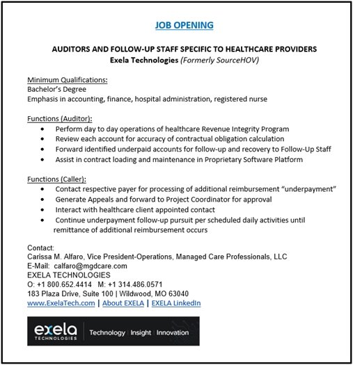 Employment Opportunity with Exile Technologies in Wildwood