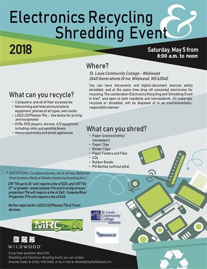 Annual Electronics Recycling and Shredding Event - May 5, 2018