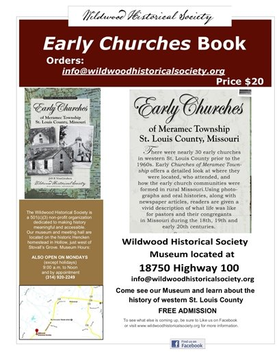 Wildwood Historical Society - Early Churches Book - $20.00