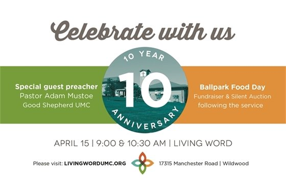 Living Word Church's 10th Anniversary in Wildwood  - April 15, 2018