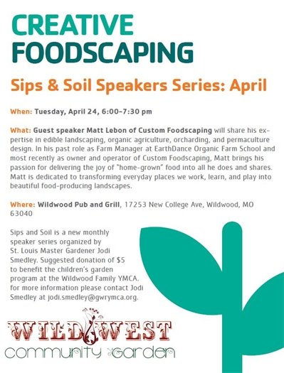 Sips and Soil Speaker Series, April 24, 2018 @ Wildwood Pub and Grill
