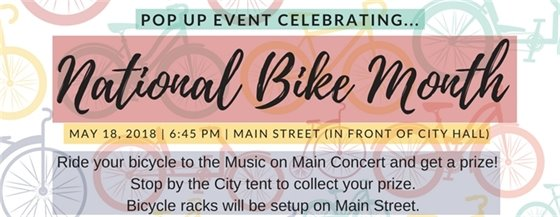 National Bike Month - Pop Up Event on May 18, 2018
