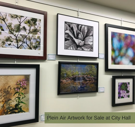 Images of Plein Air Artwork hanging at City Hall
