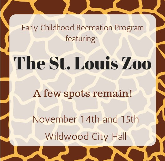 Early Childhood Recreation Program - St. Louis Zoo - November 14 and 15, 2018