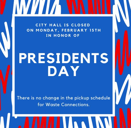 Presidents Day Holiday on February 15, 2021