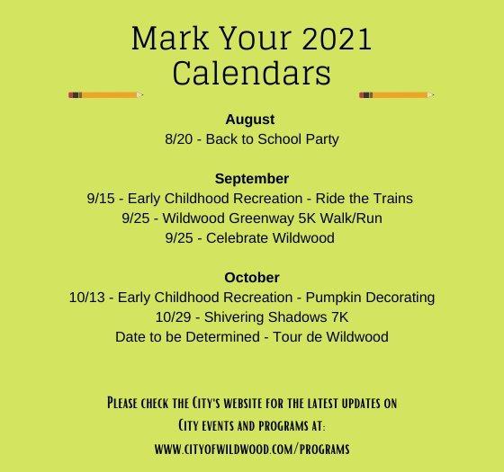 Updated Event Calendar - August 6, 2021