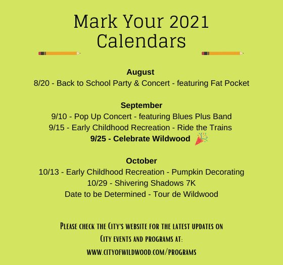 Mark Your Calendars - Event Schedule for 2021
