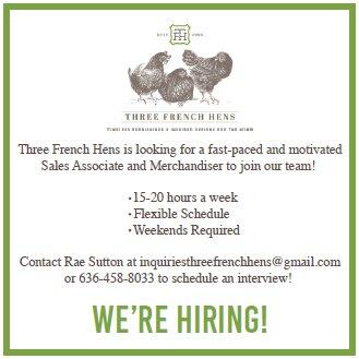 Three French Hens - We're Hiring
