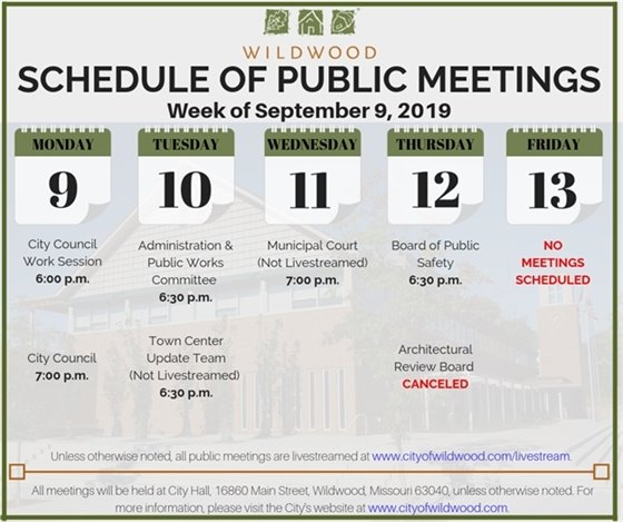 City of Wildwood Public Meeting Schedule for the Week of September 9, 2019