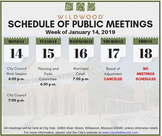 Public Meeting Schedule for the City of Wildwood - Week of January 14, 2019